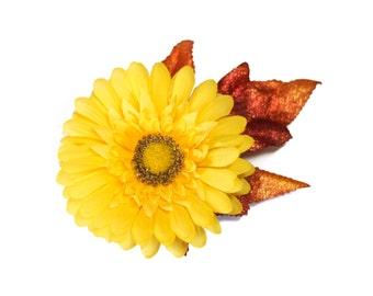 SALE Yellow Daisy Fall Pinup Rockabilly Hair Flower Clip