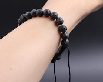 Lava macrium bracelet, mens bracelet, Shamballa bracelet, ladies bracelet, lava rock, bead bracelet, gemstone, Shamballa men, Mala, yoga