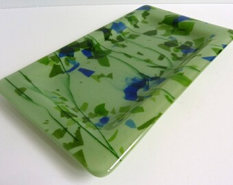 Fused Glass Platter or Plate in Celadon Green and Blue by BPRDesigns