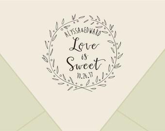 Custom wedding monogram stamp ,-wreath love is sweet Stamp- Retro Wedding Stamp-custom Rubber Stamp-custom stamps