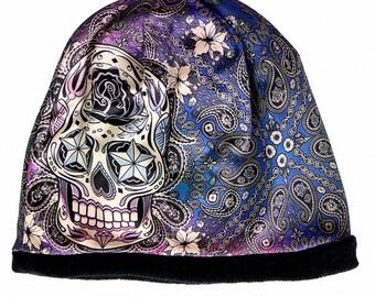 Sugar skull Dia de los Muertos Mexico Romero sugar skull Art Nouveau Beanie Hat snake