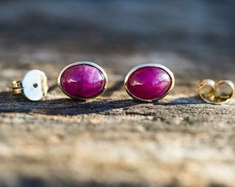 14k Yellow Gold Natural Ruby Stud Earrings - Natural Ruby -  14k Yellow Gold Natural Ruby Earrings  -  14k Yellow Gold Natural Ruby Studs