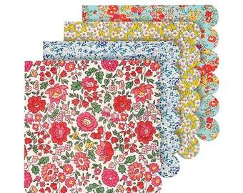 Liberty Large Napkins, Meri Meri Floral Napkins in 4 Designs, Flower Paper Napkins, Baby shower, Birthday, Bridal Shower, Wedding Napkins