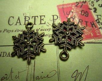 1 x bronze jewelry winter snowflake pendant