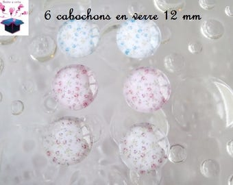 6 glass cabochons 12 mm for loop flowers theme