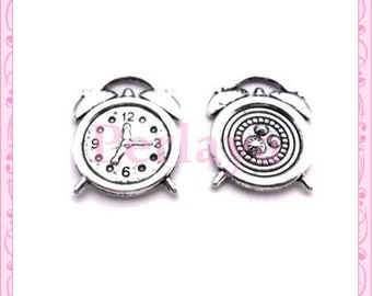 Set of 15 REF1235X3 silver clock charms