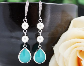 Wedding Jewelry Bridesmaids Gift Bridal Earrings Bridesmaid Earrings Dangle Earrings Swarovski Pearls with Mint Opal Glass drop Earrings