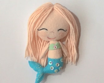 Gingermelon felt doll, chibi mermaid, handmade unique gift