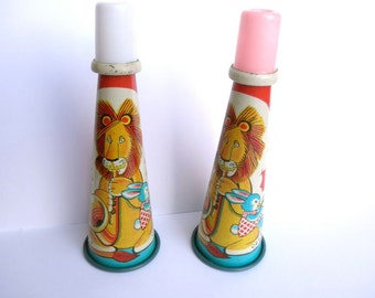 1950s Noisemakers  Tin Lithograph Child Party Horns Lions Bunnies Ducks Set of 2 // Vintage Birthday Party Favors