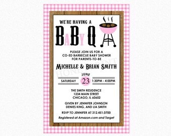 Baby Q Baby Shower Invitation, Barbecue Baby Shower Invitation, Baby Girl Pink, Personalized, Printable File or Printed