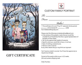 Gift Certificate Custom Family Portrait, Watercolor Portrait, Wedding Gift, Birthday, Christmas, Leved ones
