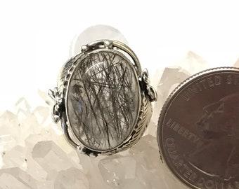Black Tourmalinated Quartz  Ring Size 5 1/2