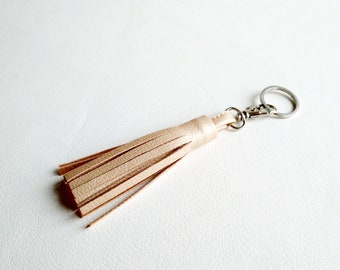 Rose Gold Tassel Keychain Tassel Purse Charm Vegan leather keychain Women gift