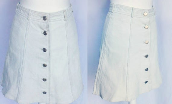 Vintage 70s 60s Mod Hippie Boho White Real Leather A Line Mini Skirt Small by Etsy