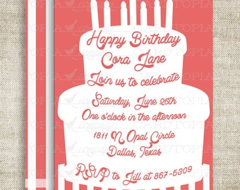 Cake Girl Birthday Party Invitations Printable Invitations Cheap Invitations Pink Candle Stripes Online Party Invitations Hipster -211642947
