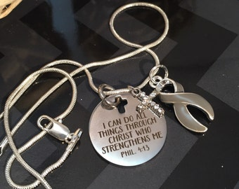 I Can Do Anything through Christ / Gray Grey Ribbon Necklace / Brain Cancer Tumor Survivor Awareness / Diabetes / Aphasia
