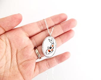 Japanese Koi fish cross stitched necklace, fish embroidery, gifts under 30, Japan inspired necklace