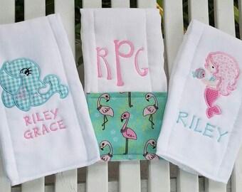 Monogrammed Tropical Burp Cloths Gift Set!