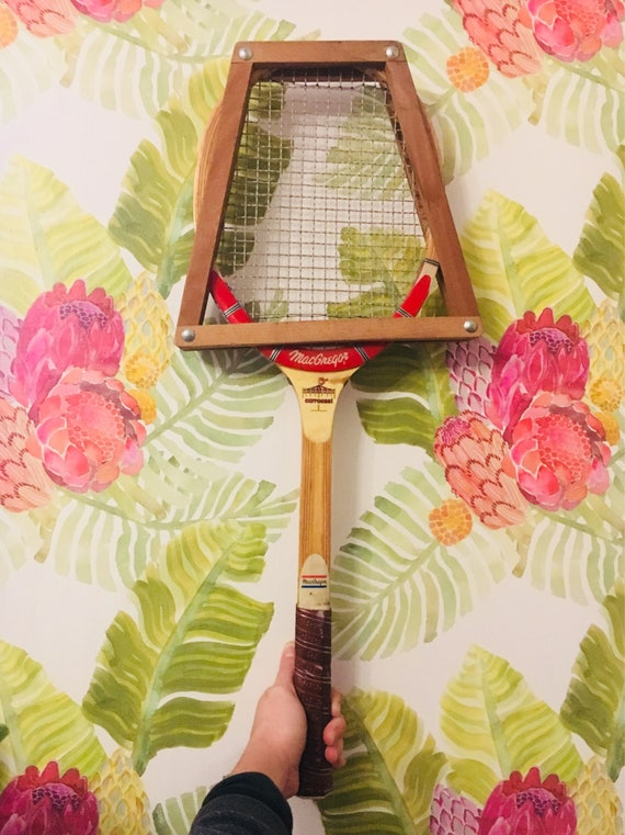 Vintage MaGregor Carrousel Tennis Racket with Original Wooden Grib + Press Cover - Antique Tennis Racket Home Decor