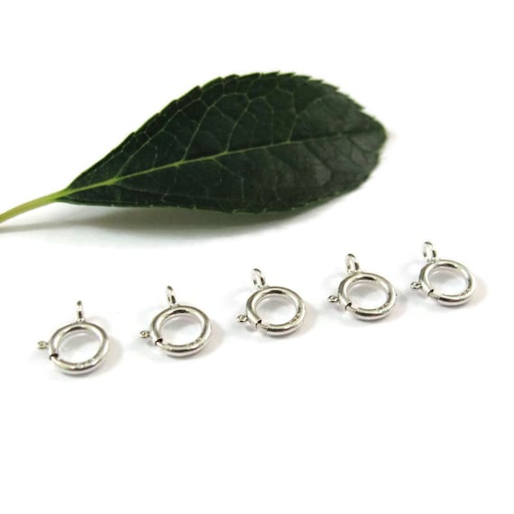 5 Silver Clasps, Small Silver Spring Ring Clasps, 5 Count of .925 Sterling Silver 6mm Spring Rings, Jewelry Supplies (F-146s)