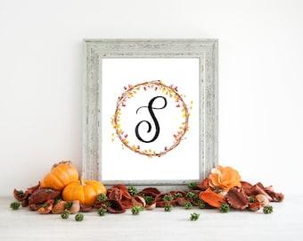 Digital Download - Monogram letter S print - Letter Print - Floral Monogram - Initial Print - Wreath Initial Print - Letter S print - Wreath