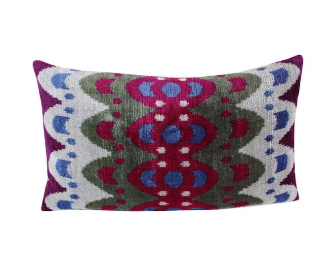 Silk Velvet Ikat Pillow Cover VP100, Bohemian pillow, Velvet Ikat Pillow, Velvet Pillow, Velvet Pillow Cover, Ikat Pillows, Throw Pillows