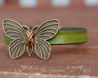 Leather bracelet women, Rustic Wedding, Boho leather bracelet, Sister Gift, Butterfly bracelet, Girlfriend Gift, Rustic Jewelry, Womens Cuff