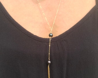 Double Tahitian Pearl Tassel Necklace