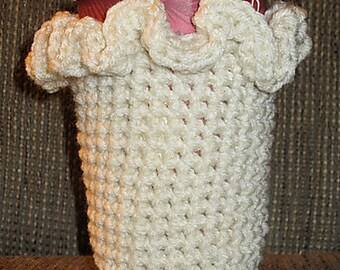 Crocheted Ruffled Cup Cozy