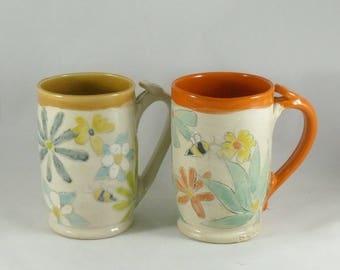 Set of Two Ceramic Coffee Mugs Save the Bees 9th Anniversary Gift Cups Large Ceramic Tea Cups Tankard Beer Stein Latte Mug Cappucino Mugs