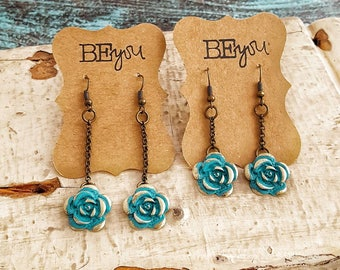Turquoise Rose Earrings, Brass and Turquoise, Turquoise Flower, Flower Earrings, Floral Jewelry, Turquoise Earrings, Dangle Earrings, Chain