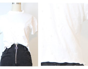 Eyelet Embroidered White 90s Vintage Inspired Crop Top