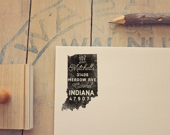 Indiana Return Address State Stamp, Personalized Rubber Stamp