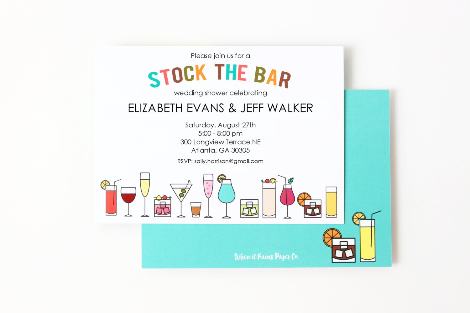 Stock the Bar Invitations Couples Shower Invites Printed