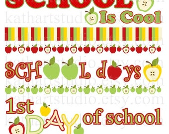 Instant Download - School Days Apple Borders Clip Art Set - Scrapbooking, Backgrounds, Invites - Commercial Use 64