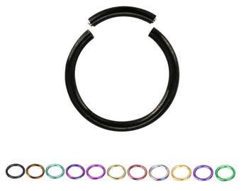 "Titanium Nose Ring, Seamless Hoop, Segment Hoop, Daith, Helix, Cartilage 5/16"" 16G"