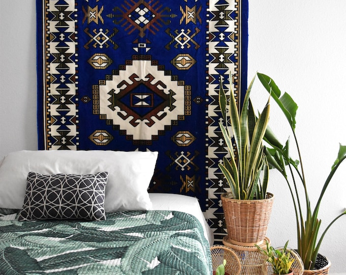 large navy blue afghan fringe rug wall tapestry / wall hanging