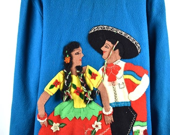 1950's Mexican Tourist Jacket by Cortes    Felted Wool Mexican Folk Jacket    Peasant Jacket