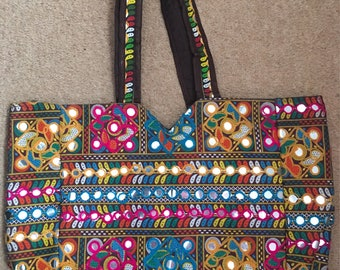 Handmade Indian Vintage Antique Handwork , Mirror Work Shopping Bag, Shoulder Bag, Hobo Bag, Tote Bag,beach Bag