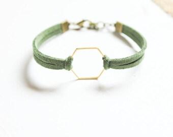 Hexagon Diffuser Bracelets | Choose Your Color! | Minimalist Bracelet | Bronze + Suede Diffuser Bracelet