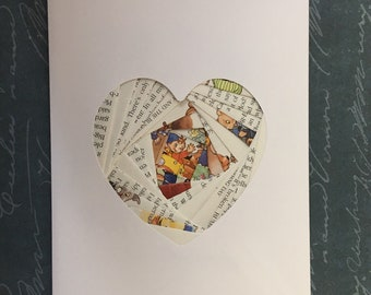 Iris folded heart shape greeting card -  Noddy book pages (car)