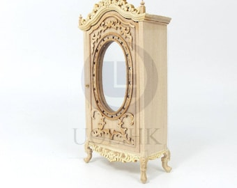 """Wooden 1:12 Scale Miniature The """"Berit""""  Armoire For Doll House [Unfinished]"""