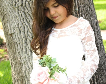 Sophie Lace Maxi-Long Sleeve Flower Girl Dress