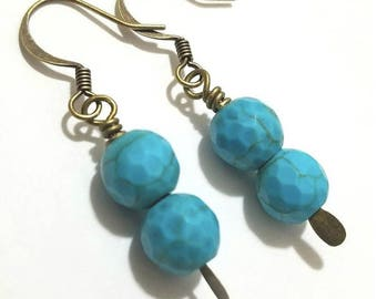 Handmade Turquoise Beads Antique Bronze Paddle Pin Earrings, vintage