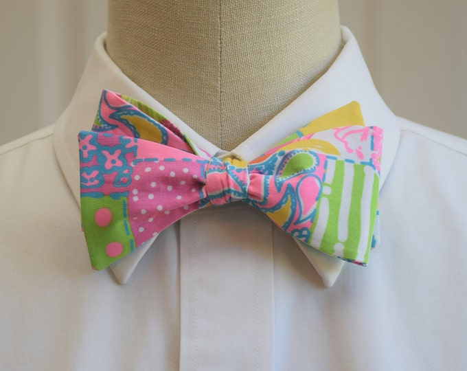 Men's Bow Tie, Loco pink/blue/green patchwork Lilly print bow tie, wedding bow tie, groom/groomsmen bow tie, prom bow tie, tuxedo accessory