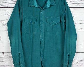 Arrow Workwear vintage Sagebrush Green Chamois Shirt / Camp Shirt / Outdoorsman Camping Hiking Southwestern Rancher 4lEhWwHjNQ