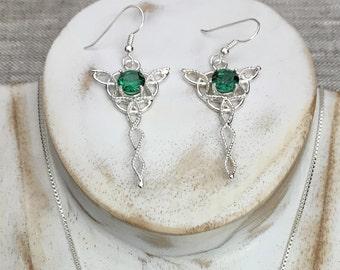 Celtic Dangle Gemstone Earrings, Irish Earrings, Celtic Drop Earrings, Irish Drops Sterling Silver Earrings, Celtic Wedding, Celtic Jewelry