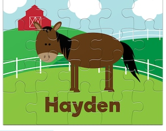 Personalized Horse Puzzle for Kids - Farm Jigsaw Puzzle with Child's Name, 20 pieces, 8 x 10 inches