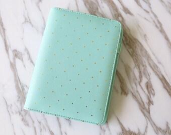 Gold Polka dot Planner Binder Cover / A5 planner binder/ Personal size planner cover/mint polka dot planner cover