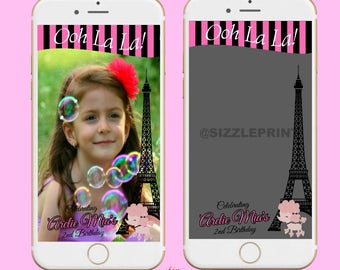 PARIS THEME GEOFILTER + Family & Friends Message   Custom Personalized  Snapchat   Girl  Birthday Party   Baby Shower  Bridal Shower